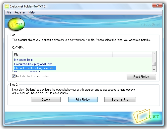 Click to view 1-abc.net Folder-To-TXT 2.00 screenshot