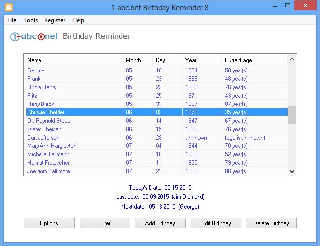 1-abc.net Birthday Reminder Screen shot
