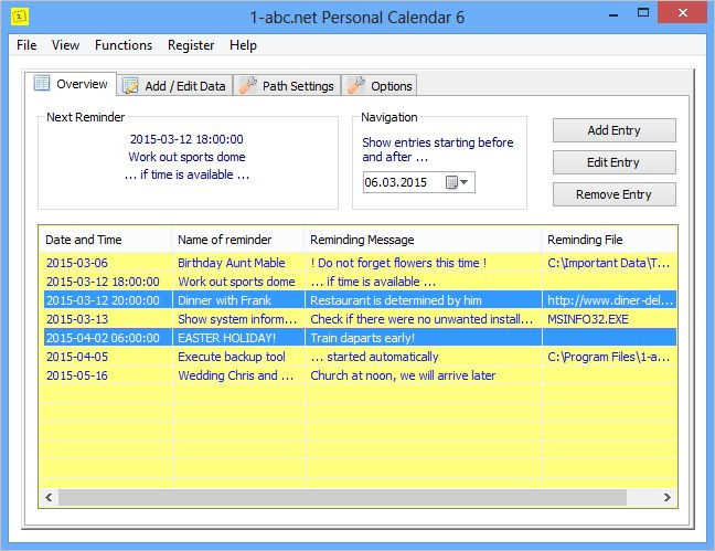 Click to view 1-abc.net Personal Calendar 4.00 screenshot