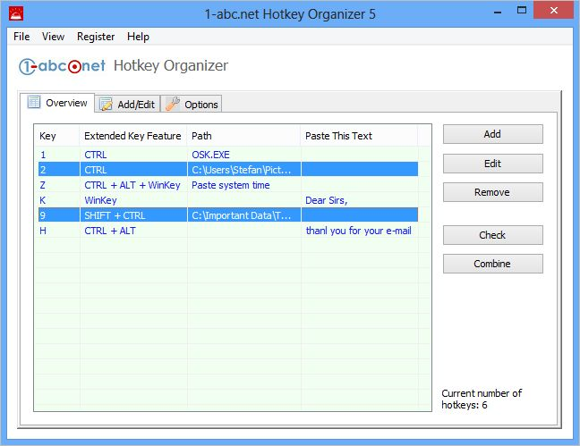 1-abc.net Hotkey Organizer Screen shot